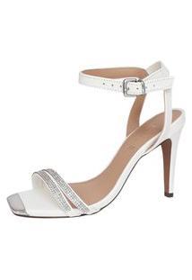 Sandalia Branca Noiva Casamento Salto Alto Fino