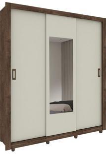 Guarda Roupa Malibu 3 Portas Com Espelho Cumaru Rústico / Off White