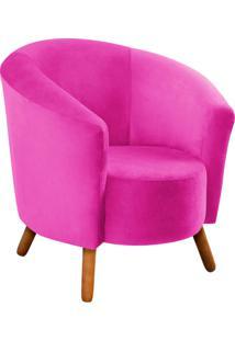 Poltrona Decorativa Angel Suede Pink Com Pés Palito - D'Rossi