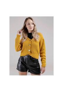 Cardigan Tricot Feminino Amarelo