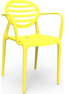 Cadeira Stripe Com Braço Amarelo