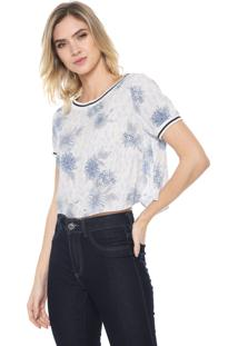 Blusa Cropped Enfim Floral Branca/Azul