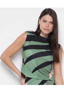Blusa Osklen Sleeveless Fit Tropi Feminina - Feminino-Verde+Rosa