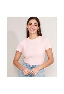 "Camiseta Cropped Canelada Com Bordado Exhausted"" Manga Curta Decote Redondo Rosa Claro"""
