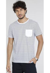 Camiseta Masculina Básica Listrada Com Bolso Manga Curta Gola Careca Branca