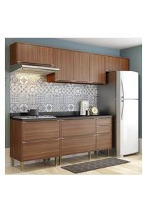 Cozinha Modulada Multimóveis 5456 Calábria 6 Peças Nogueira