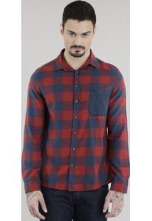 Camisa Xadrez Em Flanela Vermelha