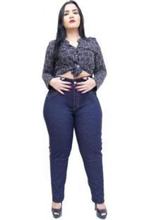 Calça Jeans Latitude Plus Size Com Cinta Leia Feminina - Feminino-Azul