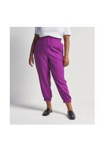Calça Jogger Em Crepe Com Bolsos Curve & Plus Size | Ashua Curve E Plus Size | Roxo | 54