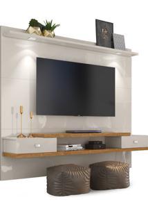 Painel Vênus New Off White/Amêndoa Para Tv Até 55 Polegadas Com Luzes De Led - Lukaliam