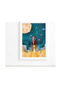 Quadro Astronauta Foguete Vermelho Moldura Branca 22X32Cm