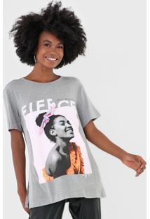 Camiseta My Favorite Thing(S) Alongada Foto Cinza - Kanui