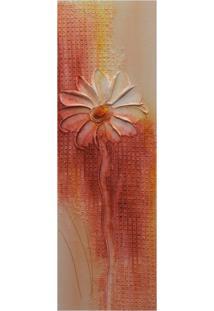 Quadro Artesanal Com Textura Margarida Vermelho 20X60Cm Uniart