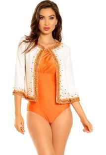 Casaquinho Mos Beachwear Ling Bordado Branco Com Bordado Laranja