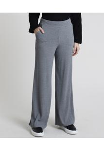 Calça Feminina Básica Pantalona Cintura Alta Canelada Com Bolsos Cinza Mescla Escuro