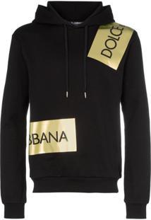 Dolce & Gabbana Logo Tape Drawstring Hoodie - Preto