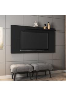 Painel Para Tv Até 50 Pol Móveis Bechara Chanel Preto Fosco