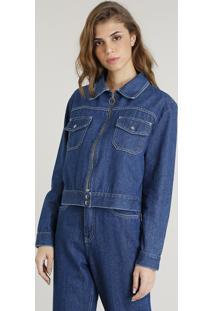 Jaqueta Jeans Feminina Mindset Com Zíper De Argola Azul Médio