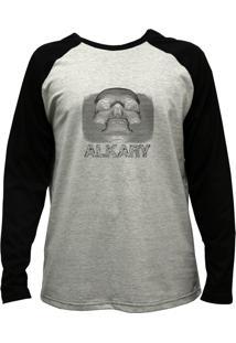 Camiseta Alkary Raglan Manga Longa Caveira 3D Mescla E Preta