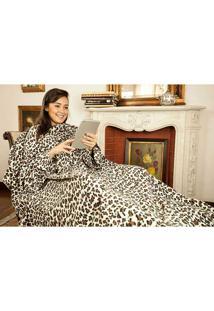 Cobertor De Tv Com Mangas Solteiro - Loani - Leopardo