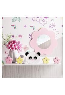 Prateleira Mdf Menina Panda Floral 40Cm Gráo De Gente Rosa