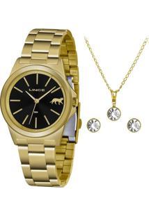 Kit Relógio Lince Feminino Funny Analógico Dourado Lrgh125L-Kx26P1Kx - Kanui