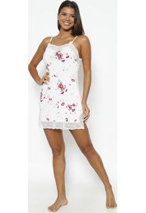 Camisola Floral Com Renda Com Lycra®- Branca & Rosafruit De La Passion