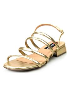 Sandália Saltinho Baixo Love Shoes Tiras Metalizadas Fashion Dourado - Tricae