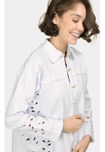 Jaqueta Jeans Oversized Bordado Branco - Lez A Lez