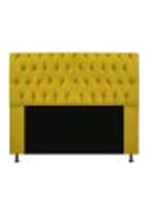 Cabeceira Estofada Lady 160 Cm Queen Size Com Capitonê Suede Amarelo - Amarena Móveis