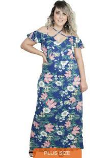 Vestido Longo Cruzado Floral Plus Size