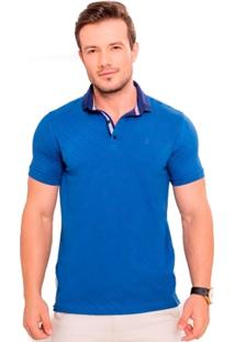 Camiseta Polo Azul Com Póa Vermelho - Masculino