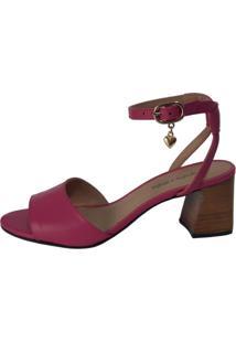 Sandália Couro Sapatos E Botas Salto Bloco Médio Pink