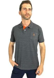 Camisa Polo Mister Fish Slim Basic Com Bolso Masculina - Masculino-Chumbo