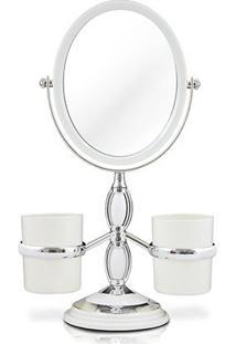 Espelho De Bancada C/ Suportes Laterais Jacki Design - Feminino-Branco
