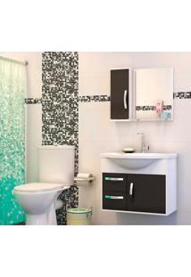 Gabinete Para Banheiro Apus 47X43X60Cm Com Lavatório E Espelheira Branco E Preto Cerocha