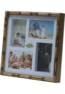 Painel Bambu Collection Para 4 Fotos 10X15 33X33X5Cm - Unissex
