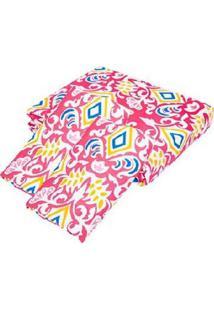 Kit Teka Queen Colcha + Porta Travesseiro Rosa Estampada Brenda - 90 Fios - Tricae