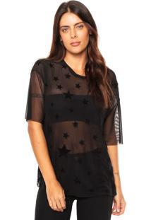 Camiseta Fiveblu Tule Estrelas Preta