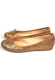 Sapatilha Love Shoes Bico Redondo Lurex Bronze