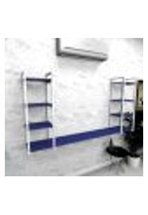 Estante Industrial Escritório Aço Cor Branco 180X30X98Cm (C)X(L)X(A) Cor Mdf Azul Modelo Ind53Azes