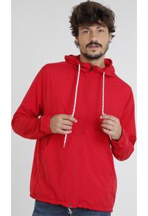 Jaqueta Corta Vento Masculina Com Capuz Vermelha