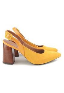 Scarpin Sapato Feminino Salto Grosso Lançamento Oferta Amarelo