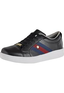 Tênis Cr Shoes Super Leve Com Faixas Laterais Preto