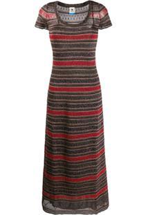 M Missoni Vestido Mangas Curtas Com Padronagem De Listras De Jérsei - Vermelho