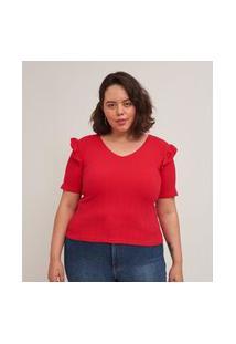 Blusa Canelada Com Babados Curve E Plus Size Vermelho