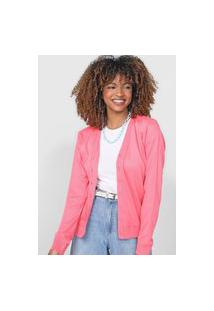 Cardigan Tricot Facinelli By Mooncity Liso Rosa