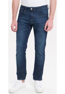 Calça Jeans Five Pockets Slim Straight - Azul Médio - 38