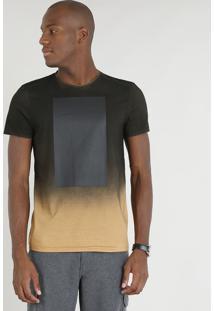 Camiseta Masculina Slim Fit Mescla Degradê Manga Curta Gola Careca Caramelo