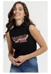 Blusa Feminina Cropped Mulher Maravilha Neon Liga Da Justiça